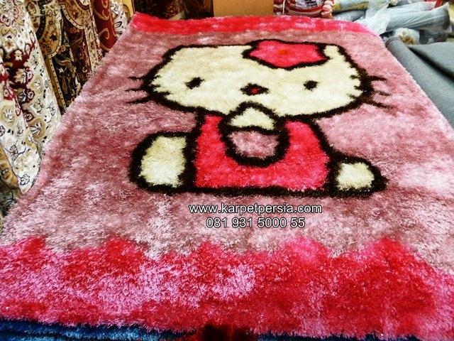 Karpet shaggy hello kitty, karpet shaggy, karpet bulu, karpet permadani shaggy