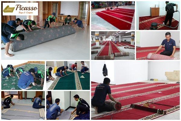 Proses Pemasangan Karpet Sajadah Oleh Team Profesional Picasso Carpets