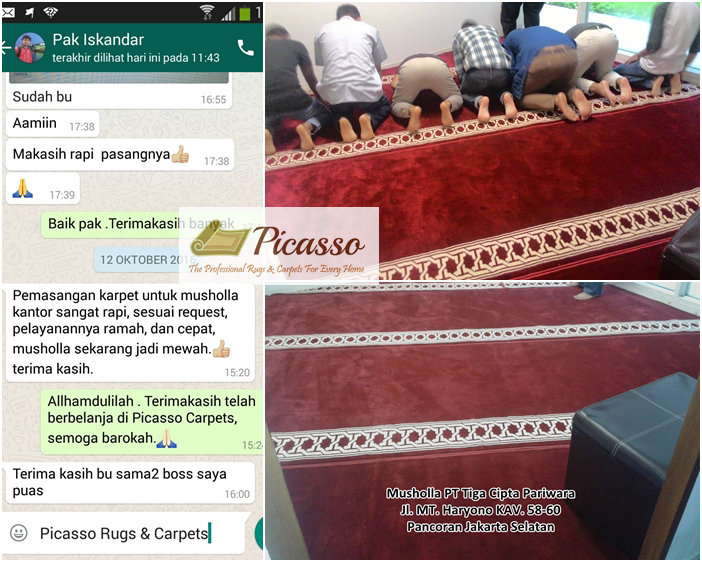 Alhamdulillah, Karpet Masjid Picasso Berhasil Terpasang di Musholla PT Tiga Cipta Pariwara