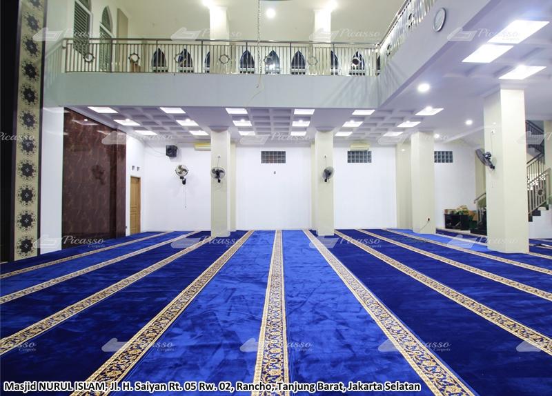 karpet masjid minimalis biru