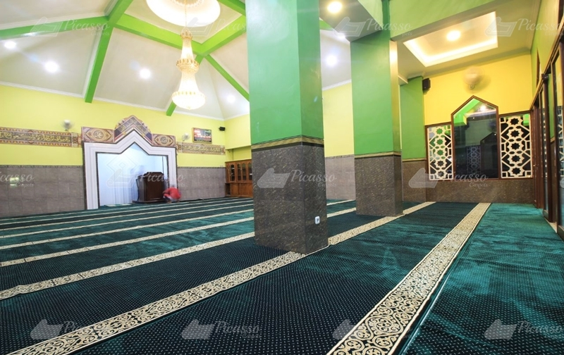 karpet masjid minimalis hijau putih emas