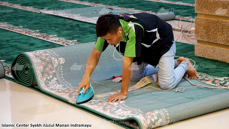 karpet masjid hijau, indramayu