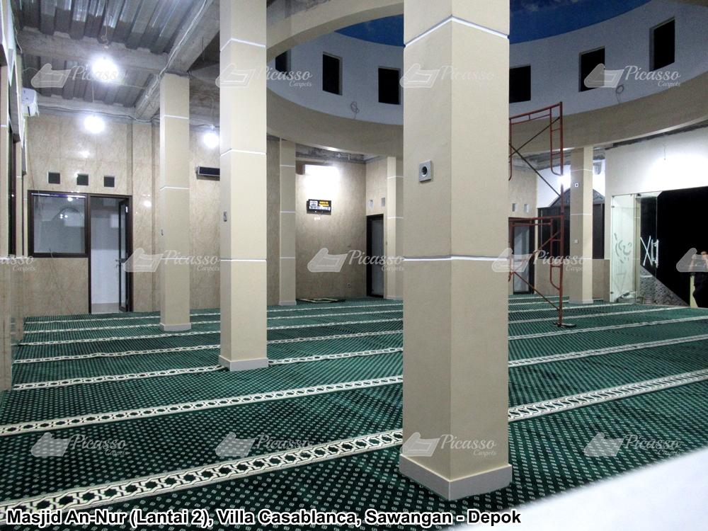 karpet masjid minimalis hijau bulatan putih