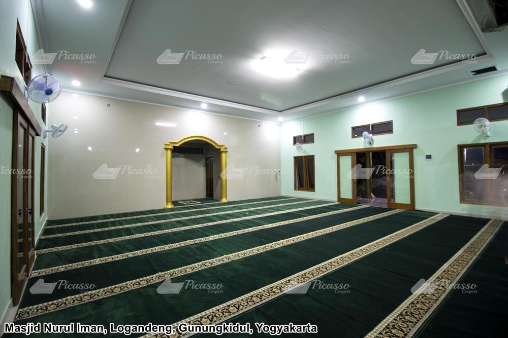 karpet masjid minimalis hijau emas