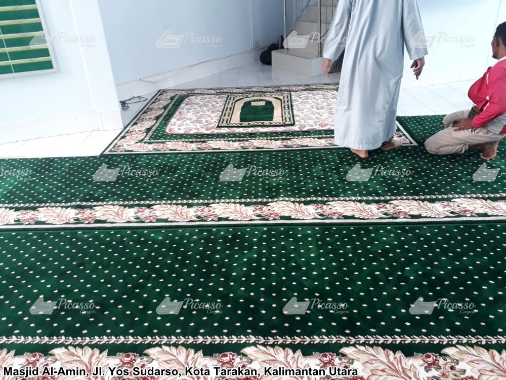 karpet masjid minimalis hijau motif bunga