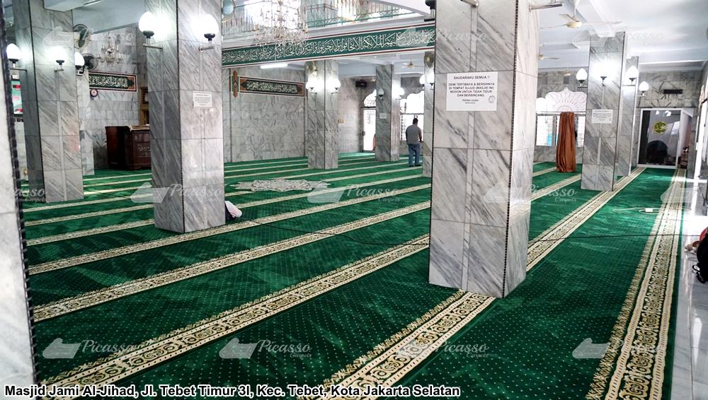 karpet masjid hijau minimalis maskot teratai