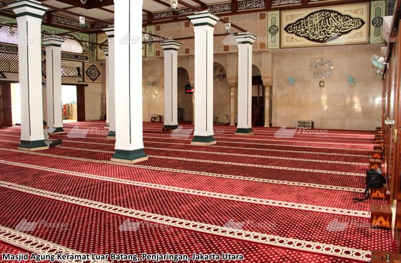 karpet masjid luar batang merah minimalis bintik emas
