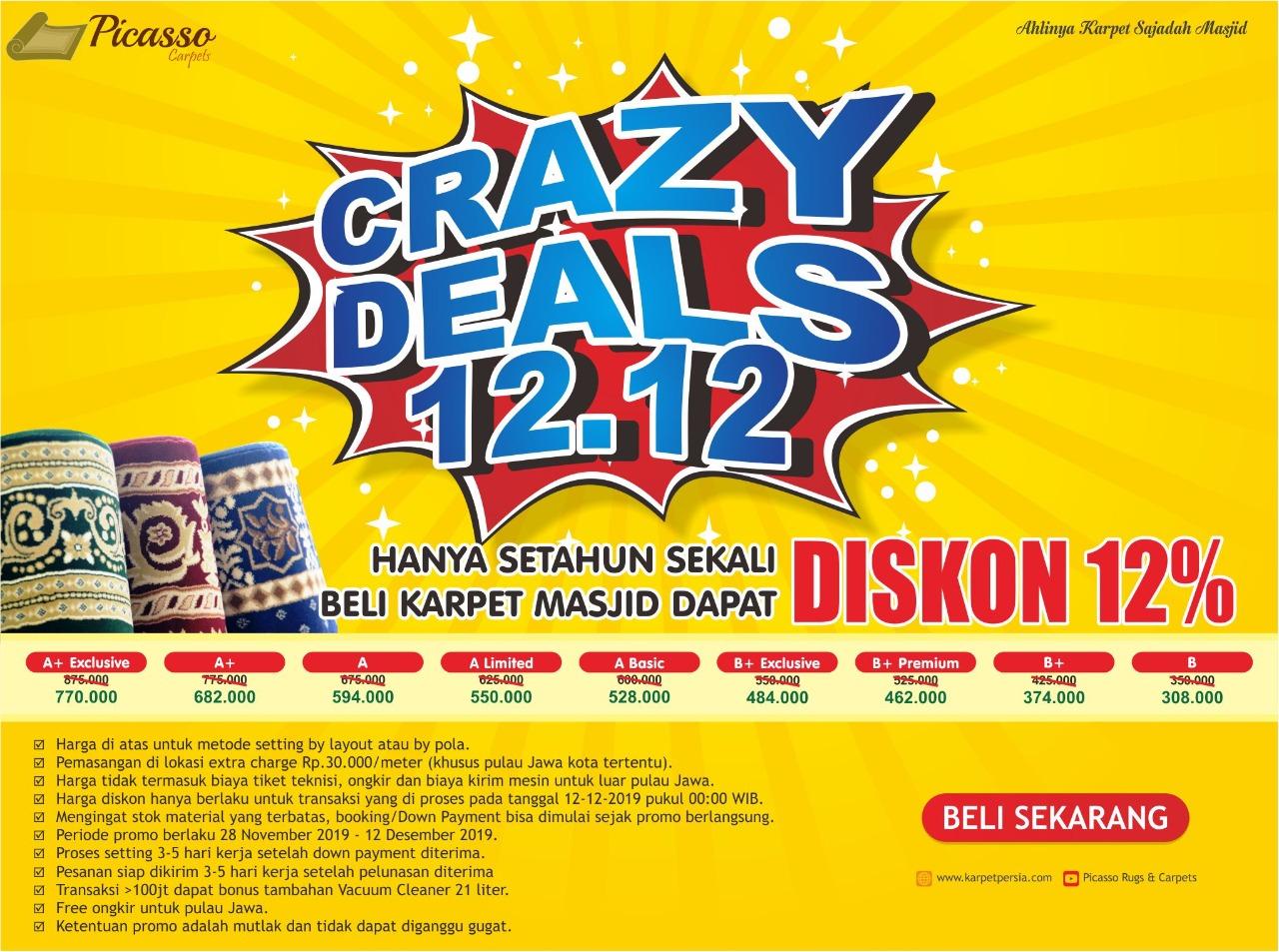 Promo Karpet Masjid Crazy Deals 12.12 Diskon 12%